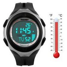 Thermometer Stop Light Waterproof Date Alarm Digital LED Sport Wrist Watch @