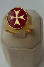 9kt 9ct yellow Gold Maltese Cross Solid Ring Red Enamel ALL SIZES