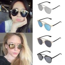 Vintage Women Fashion Mirror Flat Lens Oversized Designer Cat Eye Sunglasses