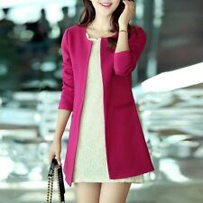 Women Blazer Straight Slim Single Breasted Long Casual Suit Jacket