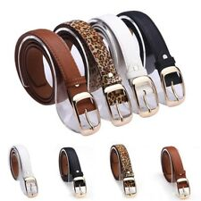 Women Fashion Faux Leather Casual Solid Metal Buckle Strap Belts