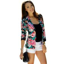 Women One Button Jacket Slim Casual Blazer Suit Floral Coat Outwear