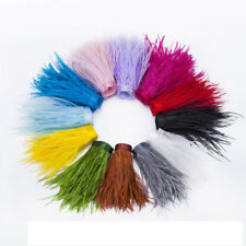 """4""""-6"""" (10-15cm) Ostrich Feathers Trims Fringe Ribbon Tape Sewing Craft 1 Yard/1M"""