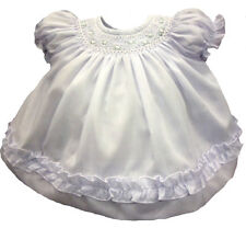 Willbeth Girls Baby Dress Infant White Smocked Rosettes Dress with Panty NWT