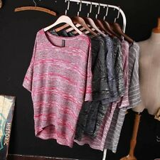 Women Spring Summer Loose Bat Sleeve O-neck T Shirt Striped Casual Knitwear Top
