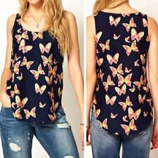 Women Butterfly Print Sleeveless Chiffon Tank Top Shirts Crew Vest