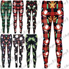 Women Ladies Skinny Ankle Length Christmas Leggings Xmas Penguin Stretch Jegging