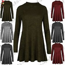 Ladies Womens Loose Fit Polo Neck Full Sleeves Mini Skater Dress Top Plus Sizes