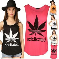 Womens Ladies Addicted Cannabis Leaf Burn Out Racer Back Edging Vest Top T shirt