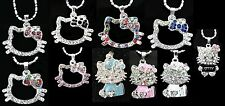 Hello Kitty Kitten Crystal Rhinestone Pendant Necklace Hot Dog Chain Face Bow