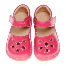 Girl's Toddler Hot Pink Leather Petal Patent Style Squeaky Shoes Sizes 1 to 7