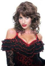 Ladies Fancy Dress Costume Wig - Bianca Brown Curly with fringe 90s wig 0138