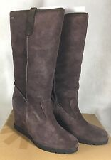 UGG Chocolate Lodge Soleil Shearling Suede Tall Water Resistant Wedge Boot sz 11