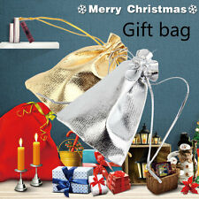 50Pcs/lot 7*9cm Golden/Silver Drawstring Organza Pouch Wedding Gift Bag BE