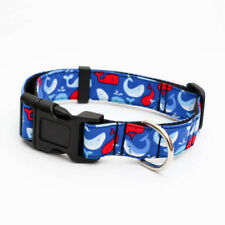 Dog Collar Fabric Adjustable Pet Collars Various Sizes Available - whales navy