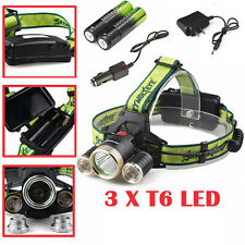 Super Bright 30000LM 4-Mode CREE XML 3x T6 LED Headlight+2X18650+Charger 3Colors