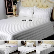 19 Momme 100% Pure Silk Duvet Cover Sheets Pillow Cases Seamless Striped Ivory