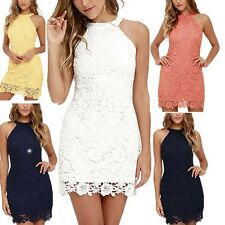 Sexy Women's Halter Lace Crochet Bodycon Prom Evening Party Cocktail Mini Dress