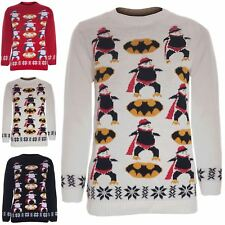 Boys Girls Unisex Christmas Batman Penguin Jumper Sweater Sweatshirt T Shirt Top