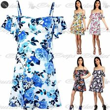 Ladies Womens Off Shoulder Camisole Floral Bardot Strappy Stretchy Swing Dress