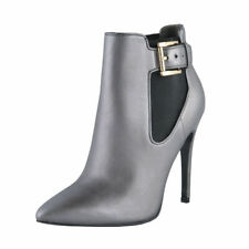 Just Cavalli Women's Gray Leather High Heel Ankle Boots Shoes Sz 6 7 8 9 10 11
