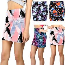 Womens Ladies Flower Floral Rose Summer Sunny Stretchy Fitted Bodycon Mini Skirt