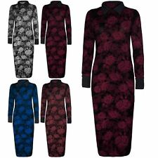New Womens Ladies Floral Roses Celeb Long Sleeve Contrast Collar Long Midi Dress
