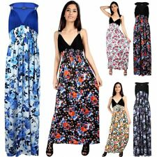 New Womens Sleeveless Contrast Greek Style Floral Print Fared Coil Maxi Dress