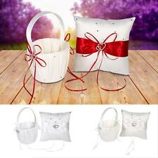 Pretty Wedding Flower Girl Basket Ring Pillow Set Ring Bearer Holder Xmas Gift H