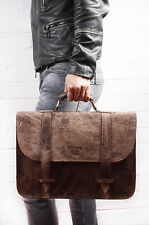 Dusty Brown Briefcase Real Camel Leather Handmade Unisex Bag