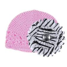 Trendy New Lovely Baby Kids Crochet Handmade Beanie Cap Hat w/Flower Clips