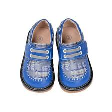 Discontinued Boy's Leather Toddler Blue Plaid Squeaky Shoes Sizes 1 and 2