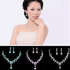 Fashion Charm Wedding Bridal Crystal Drop Necklace Pair Earring Stud Jewelry Set