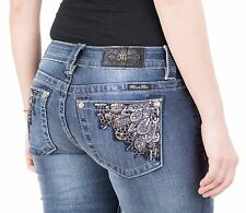 Miss Me Skinny Jeans Embroidered Back Pockets Crystal Stud Pockets New W Tags