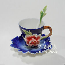 Enamel Porcelain - Peony Flower Tea / Coffee Cup with Saucer & Spoon