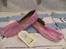 New Womens TOMS Classic Glitter Pink Casual Slip On Shoes