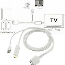 Dock to HDMI HDTV TV Adapter USB Cable for iPhone 4/4S iPad 2 3 iPod touch 4 BE