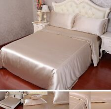 16 Momme 100% Pure Silk Duvet Quilt Cover Sheets Pillow Cases Seamed Beige