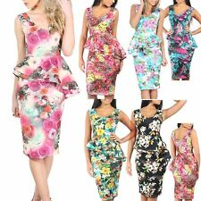 Women Ladies Sleeveless Bodycon Double Frill Slant Peplum Midi Dress Plus Size