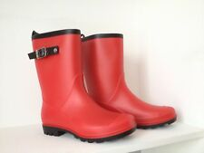 Gumboots Ladies Mid Length Red Size 5 6 7 8 9 10 11 Buckle Wellies Women New