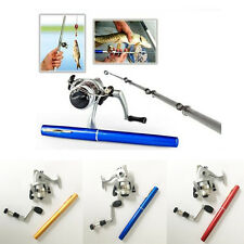 Travel Mini Telescopic Portable Pocket Fishing Pen Rod Pole Reel + Fishing Line