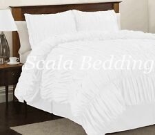 All Size All Colors 100% Cotton Bedding 1000-TC Gathered Ruffled Duvet Cover Set