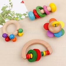 Cute Baby Kids Colorful Wooden Rattle Toy Handbell Musical Education Bell Toy US