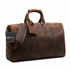Vintage GENUINE LEATHER  Duffle Bag Carry on Travel Bag Weekender Gym Bag