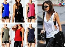 New Womens Ladies Plain Deep Side Cut Out Round Neck Sleeveless Vest T Shirt Top