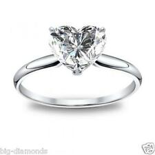 0.40 Cts D Color Heart Shape Natural Diamond Engagement Ring Solid 14K Gold