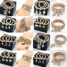 3PCS Fashion Gold Silver Plated Crystal Cuff Bangle Charm Bracelet Jewelry Gift