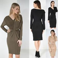Womens Stretchy Fitted Bodycon Ladies V Neck Draped Ruched Front Knot Midi Dress