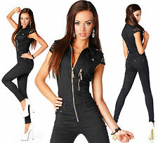 Sexy Womens Black Denim Jeans Jumpsuit Overall With Zippers C 725