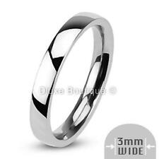 3mm Wide Stainless Steel 316L Classic Comfort Fit Wedding Ring Band Size 4-12